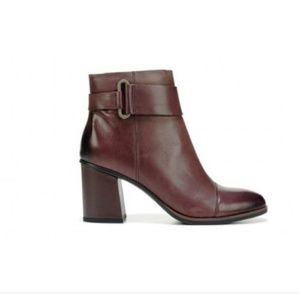 KORKS brown leather buckle ankle boots